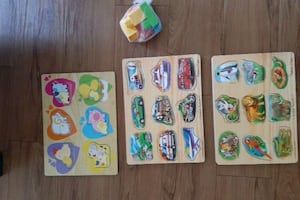 3 wooden puzzles and blocks