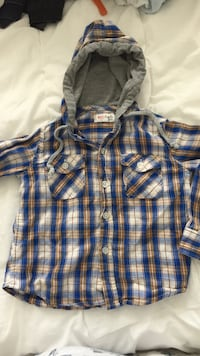 Blue, brown and gray 5-buttons hoodie jacket Toronto, M9C 0A3