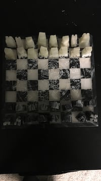 beige, black, and white glass chess game Edmonton, T5P
