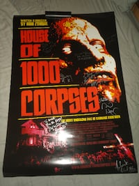 House of 1000 Corpses Autographed Poster  Sid Haig Bill Moseley Devils Rejects Zombie Horror Movie  ASHEVILLE