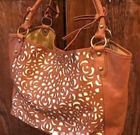 brown leather tote bag with fringe 41 km