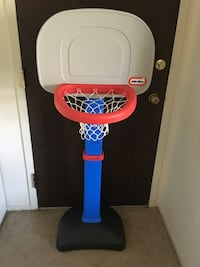 white and blue Little Tikes basketball hoop Wheeling