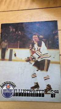 Bill Ranford autographed game flyer 1977 Edmonton