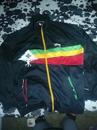 black, green, yellow, and red zip-up jacket