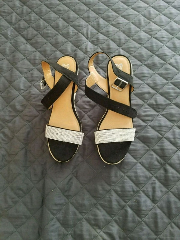 Size 12, Womens Sandals, Black with Bling