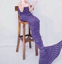 Purple Knitted Mermaid Tail Blanket with Scales Super soft Warm Sleeping Bags for Kids Brampton, L7A 3M5