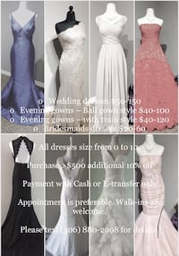 Sale event for evening gowns and wedding dresses  Saskatoon, S7N
