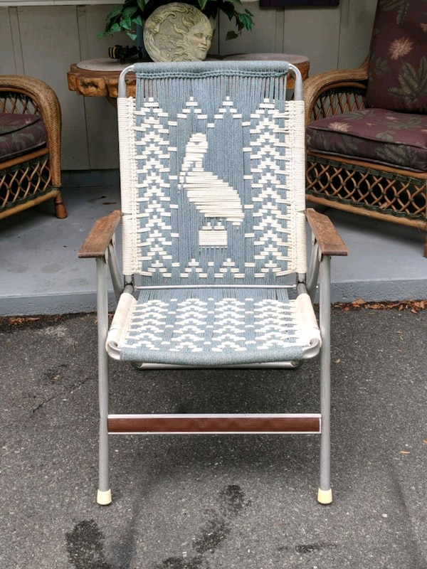 Outstanding Used Vintage Nautical Macrame Pelican Folding Chair For Sale Onthecornerstone Fun Painted Chair Ideas Images Onthecornerstoneorg