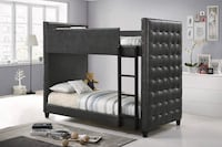 NEW Helms modern grey leather bunk bed  Miami