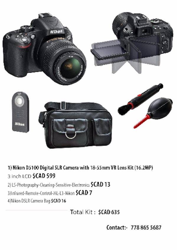 Nikon D5100 with 18-55mm(16.2MP)
