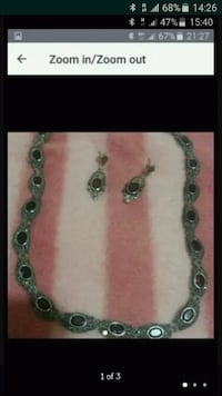 Silver and garnet necklace and earrings set Greater London, SE13 6AA