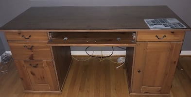 Solid wood office desk from Ikea