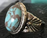 .925 Sterling Silver Ring with Large Natural Turquoise. Size 7.5 Springfield, 22150