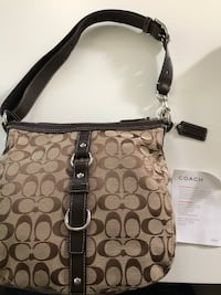 Coach Chelsea Signature Duffle Shoulder Handbag F14446, Khaki/Brown Schaumburg