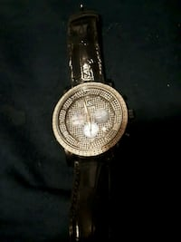 round silver-colored analog watch with black leather strap Kitchener, N2K 1P3