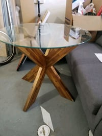 Glass Top Wooden Kitchen Table