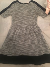 women's gray and black short sleeve dress
