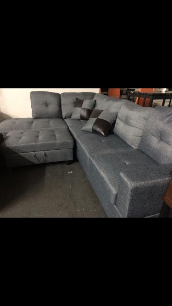 Used Gray suede sectional sofa with ottoman for sale in Las Vegas ...