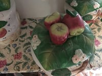 Round green and red apple-accent ceramic canister Woodbridge, 22193