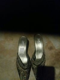 pair of silver-colored heeled sandals Fresno, 93711