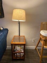 Side table with lamp and shelf