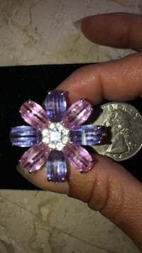 Pink and purple crystal, sterling silver ring#6 Jensen Beach, 34957