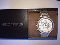 round silver-colored Michael Kors chronograph watch with link band and box Whittier, 90605