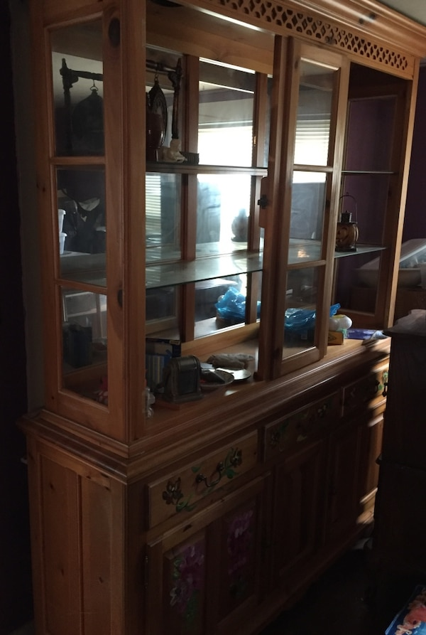 Used Hand Painted Dining Room Hutch With Lighting For Sale In Middleboro