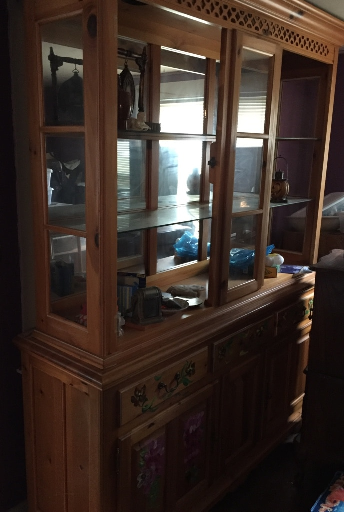 Hand Painted Dining Room Hutch With Lighting