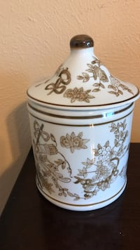 Hand made custom designed oriental canister with lid Katy, 77450