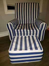 white and blue striped sofa chair