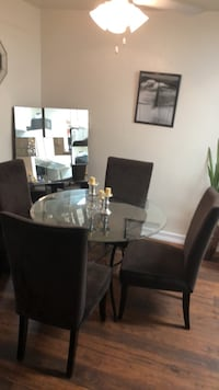 Glass round dinning table with hefty suede chairs Ramona, 92065