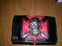 black and red leather wallet