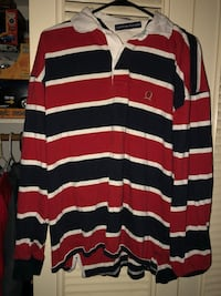 red, white, and black striped polo shirt 589 mi