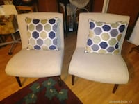 two white wooden framed padded armchairs Cedar Creek, 78612