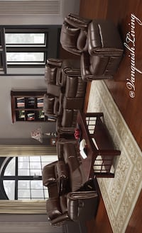 New Brown 3 Piece Sofa Loveseat Swivel Chair Cup Holders Storage