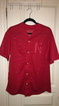 All Red Mesh Baseball Jersey - Size Medium Markham