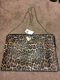 Black and brown leopard print leather crossbody bag Bristow, 20136