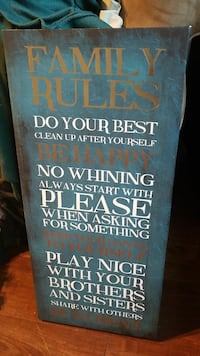 blue, white, and brown Family Rules painting signage Fairfax, 22031