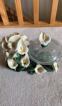 Decorative bowl w/lid sitting on a bed of Peace Lilies Surrey, V3R 3Z5