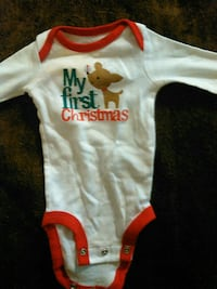 toddler's white and red My First Christmas onesie