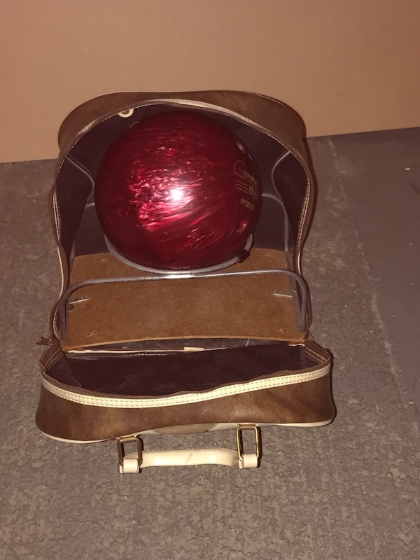 Bowling Ball And Leather Bag