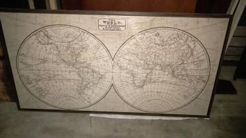 World Map 64x24x2 inches deep