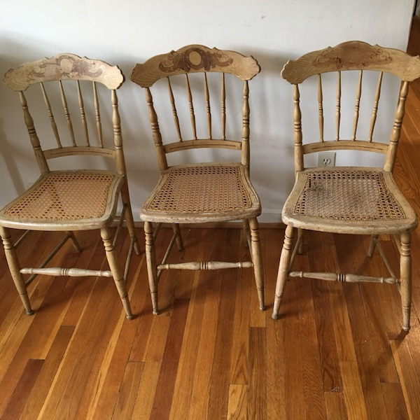 Vintage wood caned chairs
