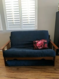 blue futon wood frame. Queen size Encinitas, 92024