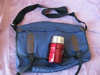 Blue GAP Messenger Bag and Red Stainless Steel Thermos TORONTO
