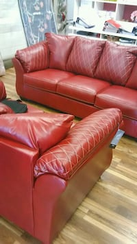 Diamond stiched bold red couch and love seat Indianapolis