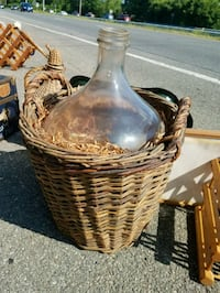 Extra large glass container in basket