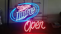 Miller Lite and Open neon light signages