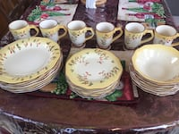 white-and-yellow floral ceramic dinnerware set Stafford, 22554
